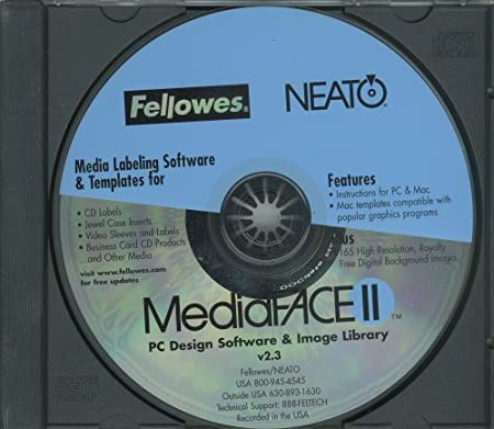 MEDIAFACE VERSION 2.3 PC DESIGN SOFTWARE & IMAGE LIBRARY - MEDIA LABELING SOFTWARE & TEMPLATES BY FELLOW/NEATO