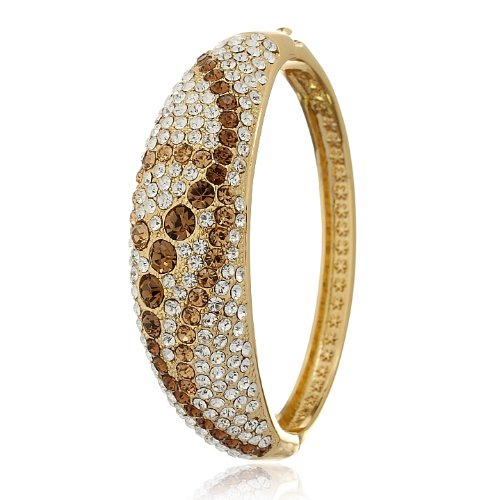 14K Gold Or Silver Rhodium Plated Stunning Designer Couture Style Cocktail Cuff Bangles With Swarovski Crystals Elements In A Beautiful Art Nouveau Design. Solid, Sturdy And Very Special. Stunning Christmas Or Anniversary Gift Idea For Her. Now Prices Sla