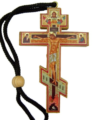 Authentic Russian Orthodox Cross Wood Crucifix with Slavic Prayer Icon on Rope Cord Home Chapel Decoration