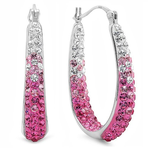 Pink Crystal Hoop Earrings with Swarovski Elements