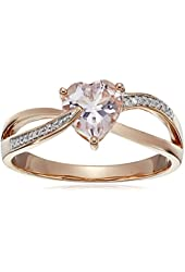 10k Rose Gold Morganite and Diamond Heart Ring (0.05 cttw GH, Color, I2-I3 Clarity)