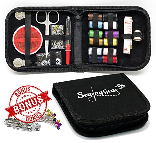 Cheap Best Compact Sewing Kit for Home, Travel, Camping & Emergency with Extra Pins & Safety...