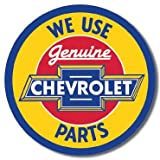 "Chevy Round Geniune Parts Tin Sign 11.75"" Dia."