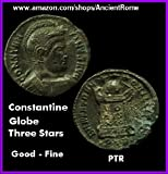 Ancient Roman Coin. Constantine The Great. ALTAR. GLOBE and 3 Stars.