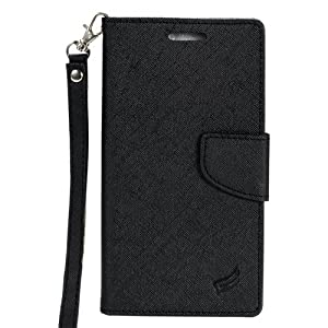 ZTE ZMAX 2 Case, LUXCA ZTE ZMAX 2 Wallet Case, Luxury PU Leather Flip Case Cover with Card Slots [Kick Stand] [Sling Hanger] For ZTE ZMAX 2 (Black) from LUXCA