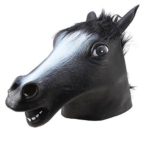 [Halloween Creepy Horse Head Latex Rubber Mask Costume Theater Prop Novelty Black] (Horse Costume Class)