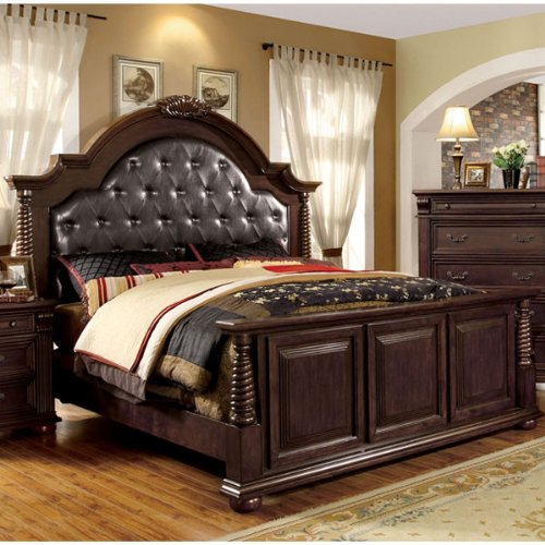 Esperia English Style Brown Cherry Finish Queen Size Bed Frame Set front-970400