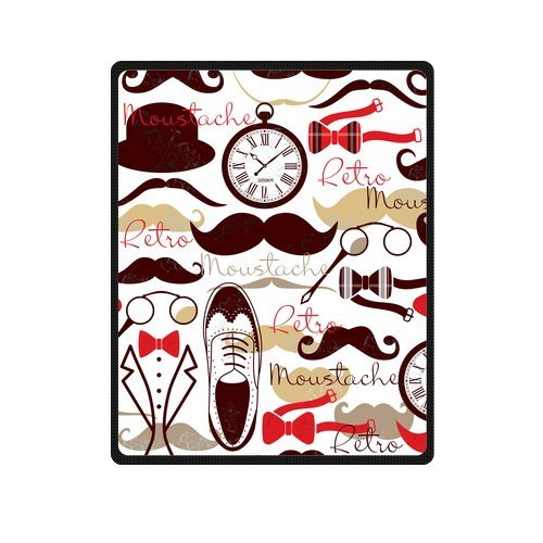 Personalized Fashion Retro Life With Mustache, Bow Tie And Flat Shoes Picture Fleece Blanket 40 X 50 back-1016444