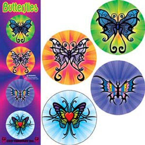 "Licenses Products Butterflys Tribal Assorted Artworks 1.25"" Button Set, 4-Piece"