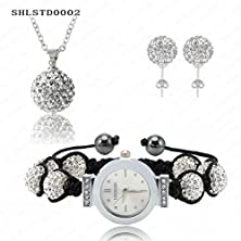 buy Prime Leader Classic Selling Watch Shamballa Set Crystal Necklace Pendant/Earring/Watch Bracelet 10Mm Beads Shamballa Balls Set Shlstdmi