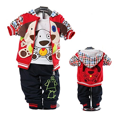 Cute Baby Boy Outfits Dog Strip Hoodie Jacket Tshirt Denim Pants Red 12-24m