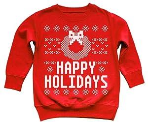 Funny Happy Holidays Wreath Ugly Christmas Sweater Kids Sweatshirt