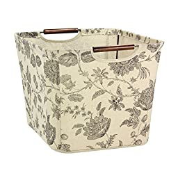 Generic Storage Bin with Wood Handles, Floral Pattern-Beige