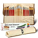 Artify 38 Pcs Paint Brushes Art Set for Acrylic Oil Watercolor and Gouache Painting a Kit of High Quality Hog Pony and Nylon Hairs Include Two Large Size Nylon Brushes and a Carrying Pouch