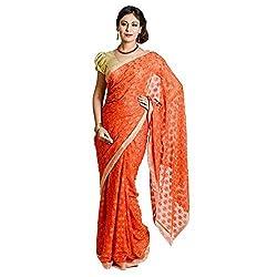 Ethnic Bliss Lifestyles Women's Chiffon Saree (Ethnic Bliss Lifestyles Orange Phulkari Saree _Orange _Free Size)