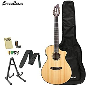 Breedlove PURSUIT-NY Pursuit Nylon Acoustic-Electric Guitar with Strap, Stand, Picks, Tuner, Cloth and Gig Bag from Breedlove