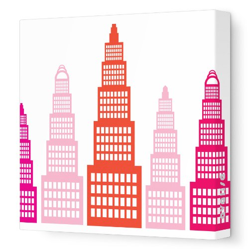 """Avalisa Stretched Canvas Nursery Wall Art, Skyscraper, Pink, 12"""" X 12"""" front-904991"""