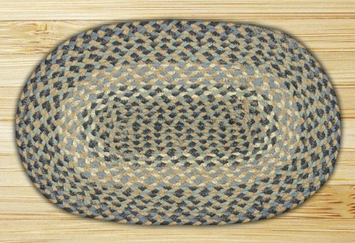 Blue/Natural 4'x6' Oval Jute Braided Rug