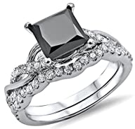 1.50ct Black Princess Cut Diamond Engagement Ring Bridal Set 14k White Gold