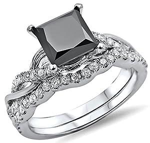 1.50ct Black Princess Cut Diamond Engagement Ring Bridal Set 14k White Gold