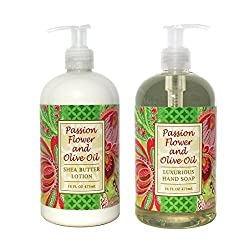 Greenwich Bay Passion Flower and Olive Oil Hand & Body Lotion and Passion Flower and Olive Oil Hand Soap Duo Set Enriched with Shea Butter 16 oz each
