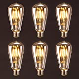 Antique LED Bulb, Oak Leaf 4w ST64 Vintage Edison Dimmable Light Bulb LED Lighting Soft White 2700K pack of 6