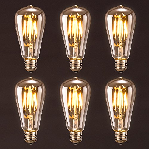 Antique LED Bulb, Oak Leaf 4w ST64 Vintage Edison Light Bulb LED Lighting Soft White 2700K pack of 6 1