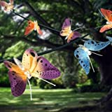 12 LED Solar Powered Fibre Optic Butterfly Garden Fairy String Outdoor Lights Shopmonk
