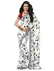 Prafful Gorgette Printed Saree With Unstitched Blouse - B00KNUPQWO