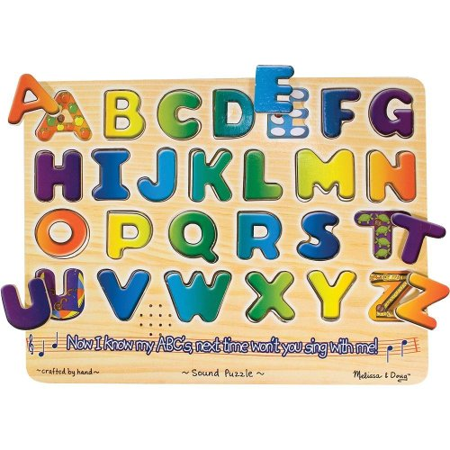 Alphabets Theme Classic Style Sound Puzzle + FREE Melissa & Doug Scratch Art Mini-Pad Bundle [03407]