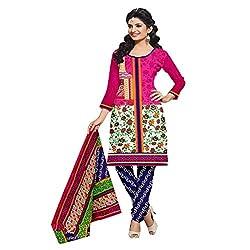Muac New Pink & Blue Pure JodhPuri Printed Cotton Semi Stitched Suit ( Dress ) + Navratri Gift