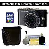 Olympus PEN E-PL3 Digital Camera w/ 17mm Lens (Black) Value Kit