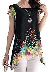 Dress({Choice Fashion_Black_Large_Printed_Crepe Georgette_Women's Dress})