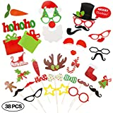 Christmas Photo Booth Props for Instant Camera 38 Pieces DIY Kit Party Supplies