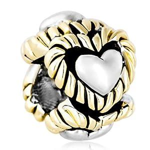 Pugster 22k Gold Plated Silver Tone Heart Circle Lover Bead Charm Fit Pandora Chamilia Biagi Charm Bracelet
