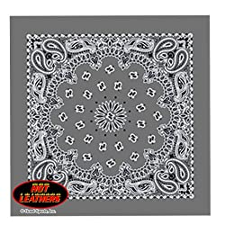"""Hot Leathers Bikers Bandanas Collection Original Design, 21"""" x 21"""" - BANDANA CHARCOAL PAISLEY DESIGN from Officially Licensed & Trademarked Products"""