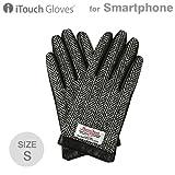 iTouch Gloves スマホ手袋 メンズ レディース 本革 Leather ハリスツイード × レザー (ブラック×ヘリンボーン/S)