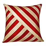 OBLIQUE DESIGN CUSHION COVER RED & BEIGE 1 PC (40 X 40 CMS)