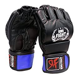 Ring Fight MMA UFC Grappling Gloves (Open Finger) Black/Blue Large/X-Large