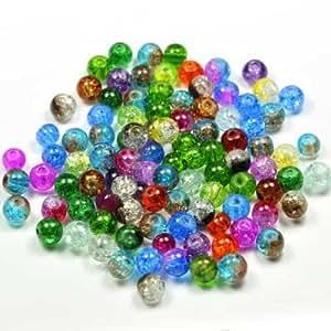 Imagine Perles - Lot 100 Perles de verre craquelé 6 mm multi couleurs