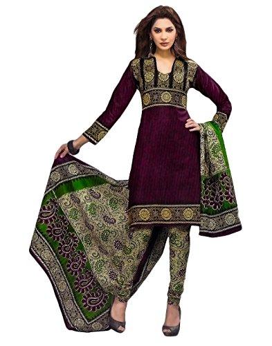 Jevi Prints Womens Cotton Unstitched Salwar Suit Dress Material (Priyanshi631 _Purple _Free Size)