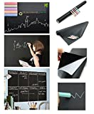 PackNBUY Black board Vinyl Wall Sticker Removable Decal Chalkboard with 5 FREE Chalks for Home School Office College Room Kitchen Size (45 x 200 cm) Blackboard