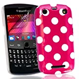 New Hot Pink with White Polka dots Blackberry 9360 case with FREE Screen Protector