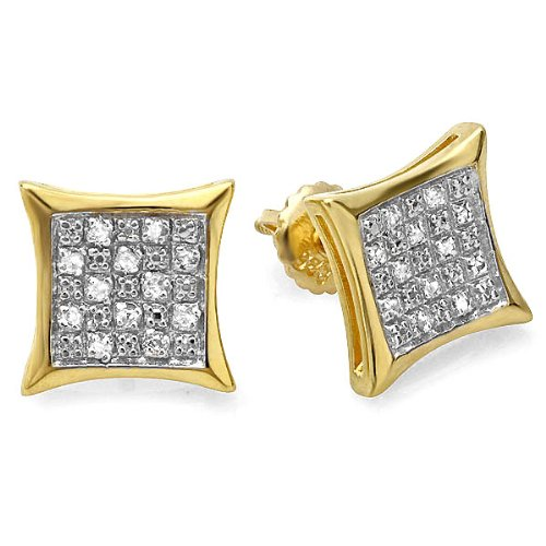 0.20 Carat (ctw) 18K Yellow Gold Plated Sterling Silver Diamond Kite Shape Mens Hip Hop Iced Stud Earrings 1/5 CT