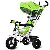三輪車 ベビーカー 両用 ベビーバギー 3輪自転車 子供 対象1~6歳 (green)