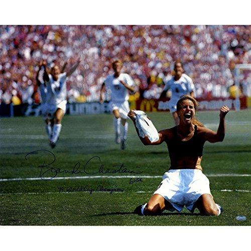 "Brandi Chastain Signed PK Celebration 16x20 Photo Horizontal w/ ""'99 World Cup Champions"" insc."