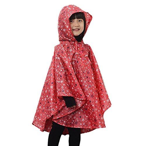 Kid Toddler Girls Raincoat Stars Poncho Waterproof Hooded Rainwear red M (5t Girls Rain Jacket compare prices)