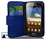 Cadorabo ®! Leather Wallet for Samsung Galaxy ACE 2 I8160 Book Style in blue