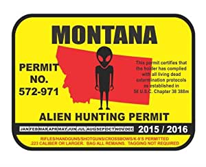 Montana alien hunting permit license vinyl for Mt fishing license
