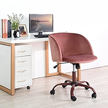 EGGREE Mid-back Swivel Computer Desk Chair Ergonomic Modern Accent Office Task Chair with Velvet Seat Armrest,Rose Pink
